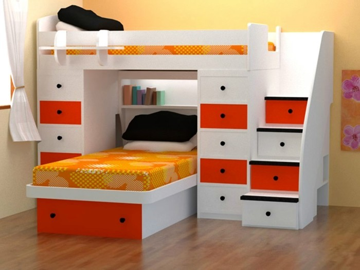 kinderzimmer-ideen-weißes-hochbett-roten-schubladen-bett-orangen-lacken-holzboden-schwarze-kissen
