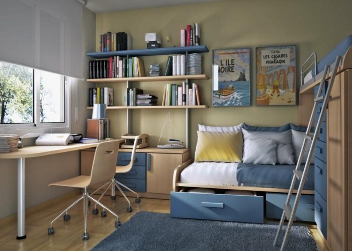 kinderzimmer-junge-zwei-betten-bettkasten-hochbett-schreibtisch-für-zwei-parkettboden-blauer-teppich