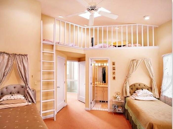 kinderzimmer-komplett-beige-farben-ankleidezimmer-zweiter-stock-ventilator-gelbe-wände