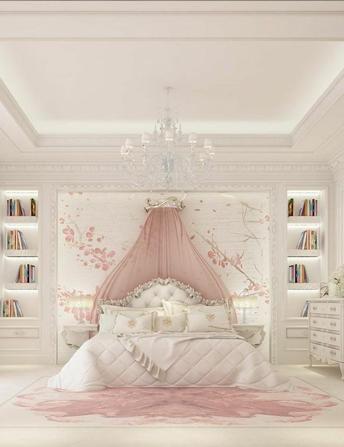 kinderzimmer-mädchen-weiß-pinker-teppich-doppelbett-weiße-lacken-bücherregal-kommode-wandtattoo