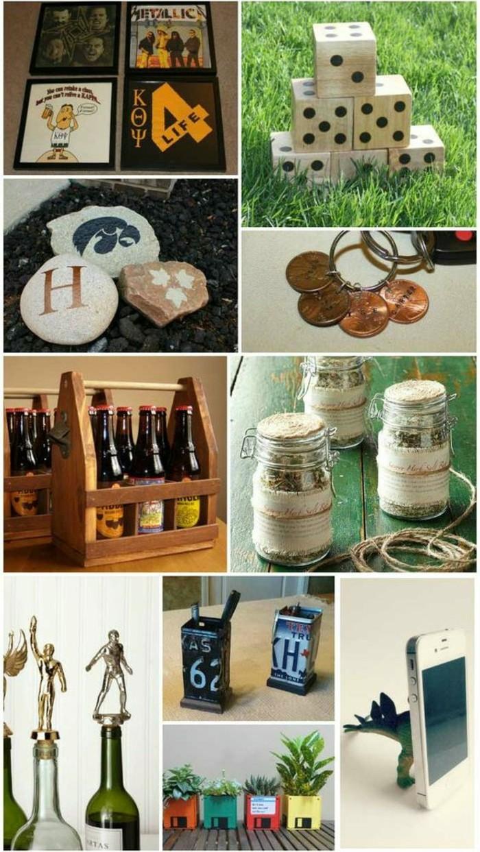 kleine-geschenke-fuer-maenner-diy-geschenkideen-wuerfelspiel-fotocollage-musikband-schluesselkette-bierkasten-kennzeichendose-fuer-bleistifter