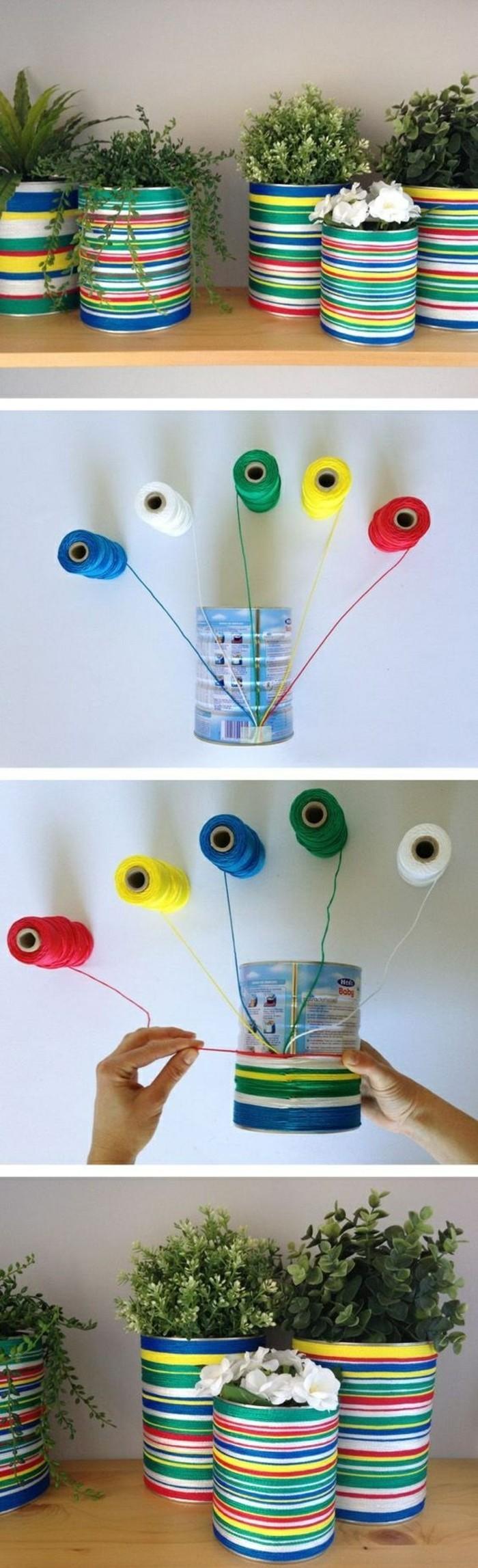 kreative-bastelideen-blumentoepfe-aus-konservendosen-faden-in-verschiedenen-farben