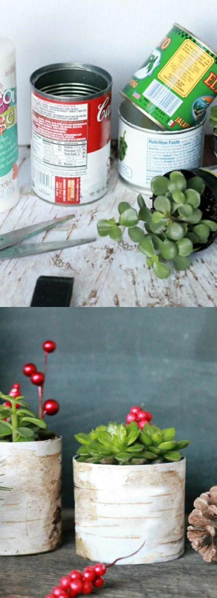 kreatives-basteln-konservendose-schere-gruene-pflanze-tannenzapfen-blumentoepfe