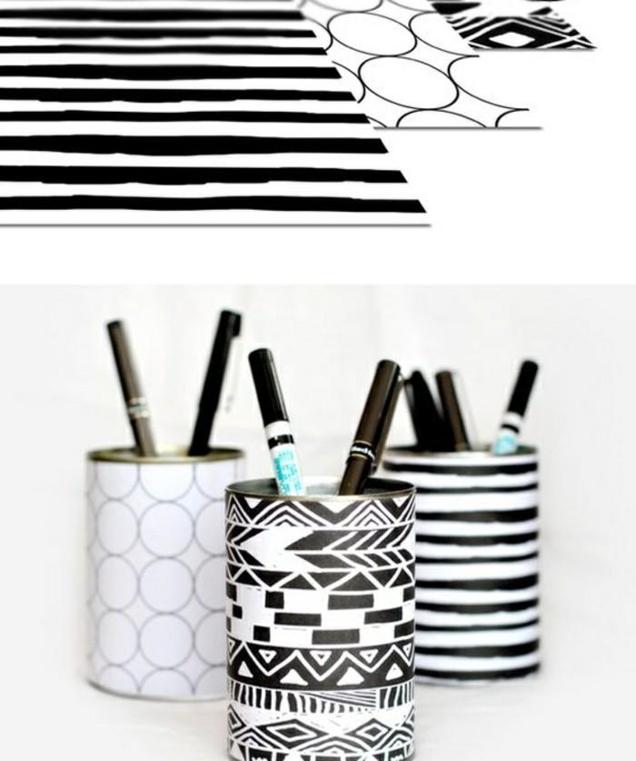kreatives-basteln-papier-in-weiss-und-schwarz-bleistiften-kugelschreiber-stiftenhalter-selber-machen