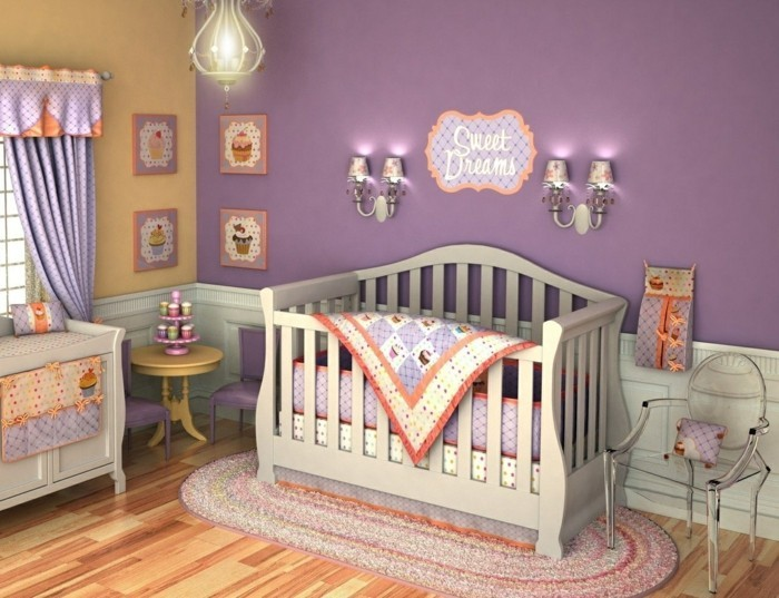 Fetching Pink Stripes Wall Painting Room Also Black Wooden Ba intended for Baby Nursery purple for Existing Residence - Design Decor