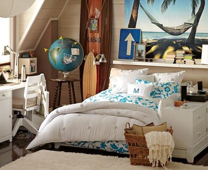mädchenzimmer-schrägdach-holzwand-plakat-weißer-schreibtisch-weißer-drehstuhl-globus-parkettboden-surf