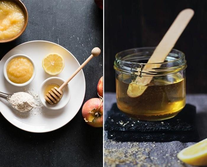 maske-gegen-pickel-weißer-teller-honig-äpfel-zitrone-glas-löffel-diy