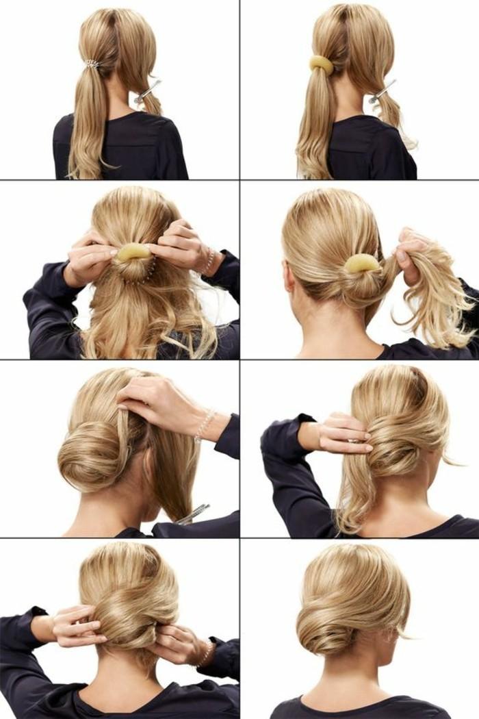schnelle-frisuren-blonde-haare-hochsteck-selber-machen-schwarze-bluse-frau