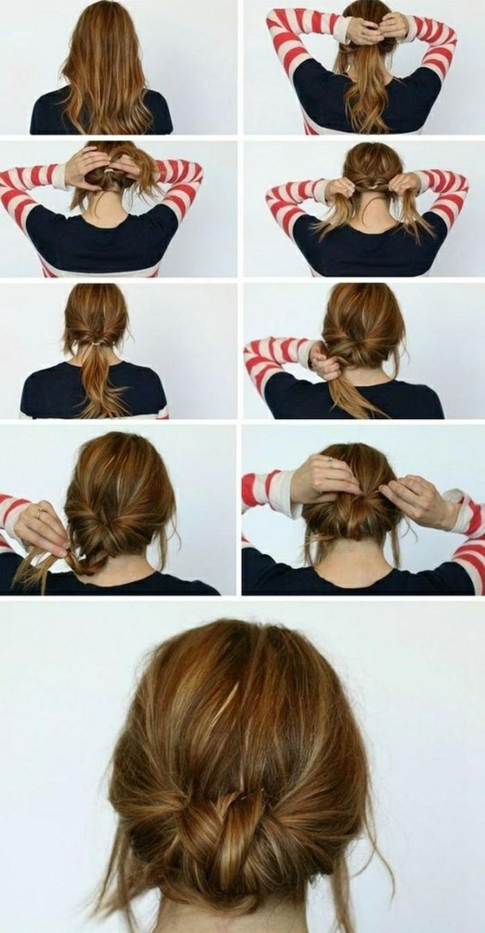 schnelle-frisuren-dunkelbraune-haare-bluse-frau-hochsteckfrisur-selber-machen