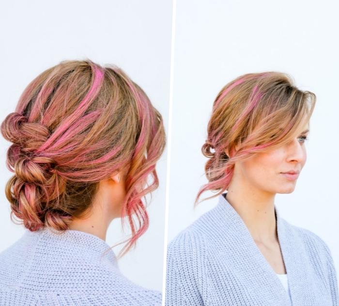 schöne haarfrisuren zum selbermachen, honigfarbene haare mit rosa strähnen, felchtfrisur anleitung