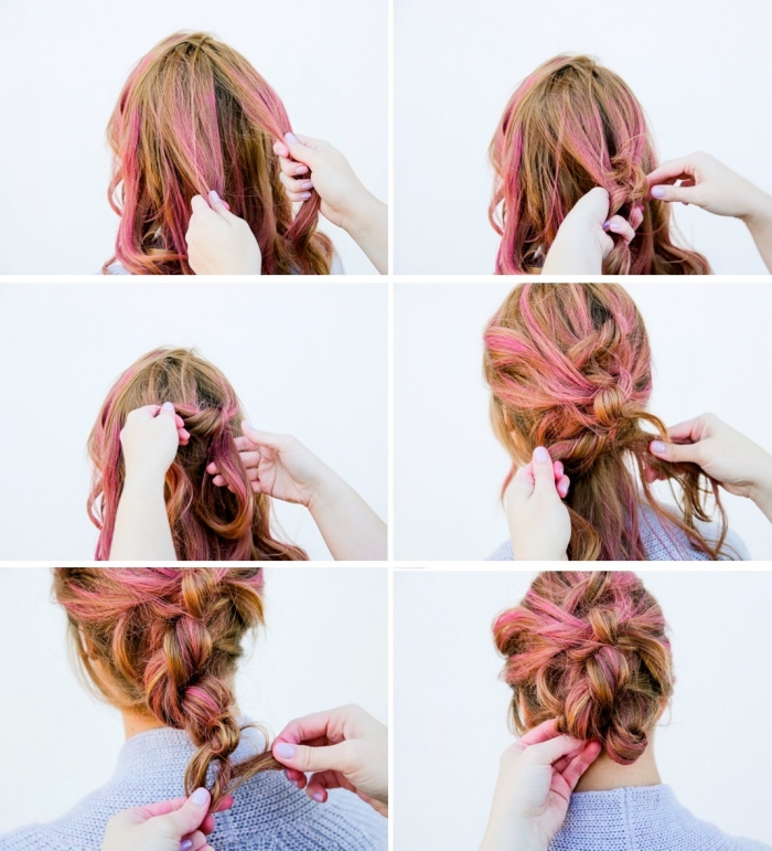 schöne haarfrisuren, schritt für schritt, rosa strähnen, haare flechten, lockere hochsteckfrisur, frisuren einfach selber machen