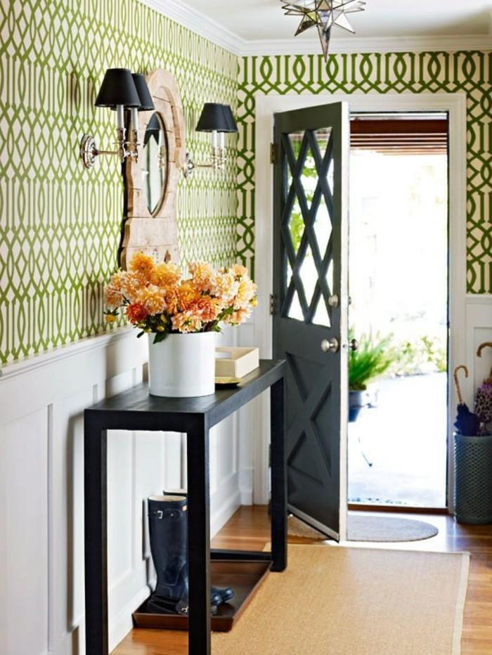 tapeten-für-den-flur-grüne-linien-gerundet-tisch-und-vase