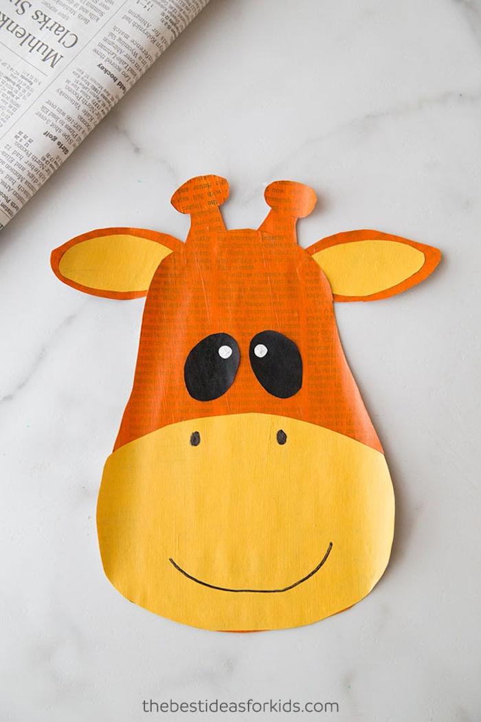 Tiere basteln mit Kindern, Giraffe ausschneiden aus Papier