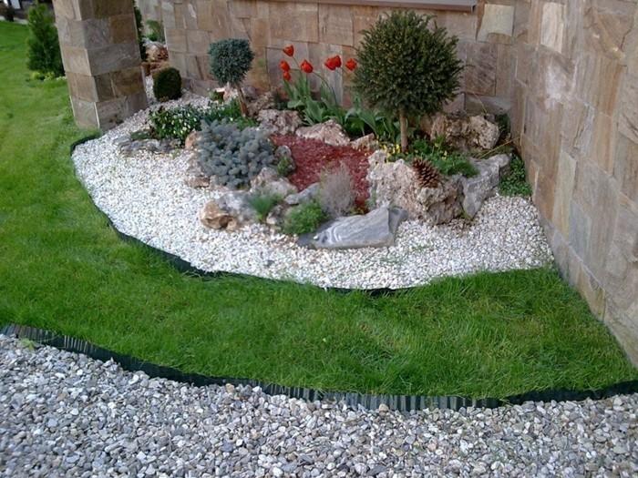 vorgarten-gestalten-gartengestaltung-mit-weißen-steinen-rote-tulpen-kleine-bäume