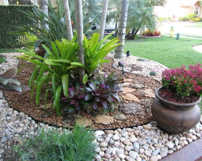 vorgarten-gestalten-natursteine-ohne-erdboden-rote-blumen-palmen-sichtschutz