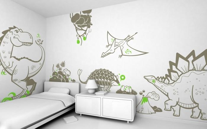 wanddekorationen-originelle-lustige-wandsticker-kinderzimmer-dinosaurier-weiße-einrichtung