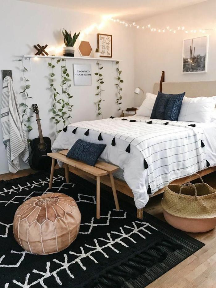 wandgestaltung kinderzimmer mädchen eco friendly einrichtung holzmöbel pflanzen kinderzimmer deko mädchen holz schwarzer teppich