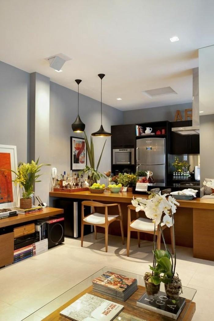 wohnideen-küche-bilder-lampen-blumen-stühle-kühlschrank-ofen-fliesen