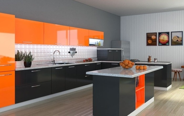 wohnideen-küche-in-orange-und-schwarz-bilder-wanddeko-kücheninsel-obst-waschbecken