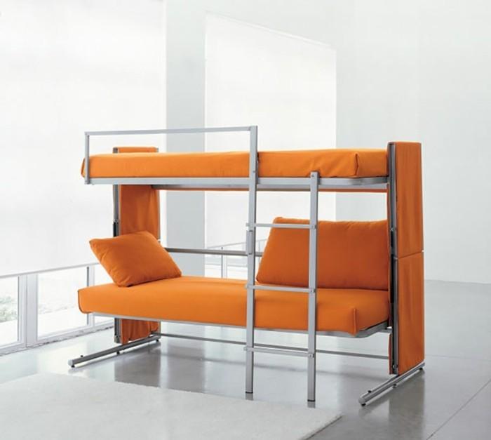 wohnideen-wohnzimmer-zweistöckiges-bett-couch-hochbett-leiter-metallbeine