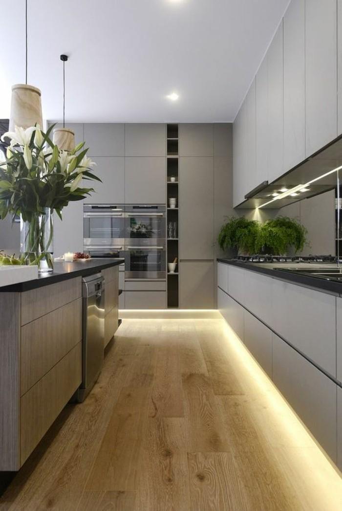 wohnungdeko-küche-in-grau-beleuchtung-boden-aus-holz-blumen-pflanze-ofen-kücheninsel