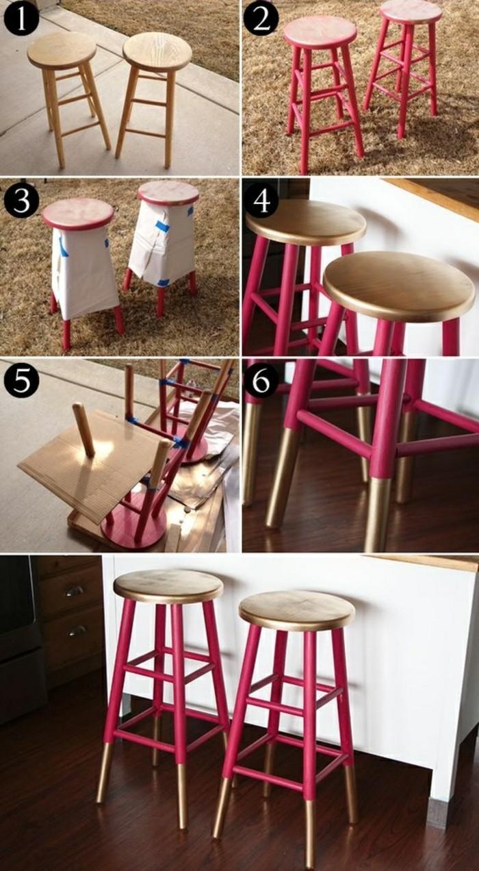10-Alte-Möbel-aufpeppen-hölzerne-hocker-in-rosa-und-gold-bemalen-diy-renovieren