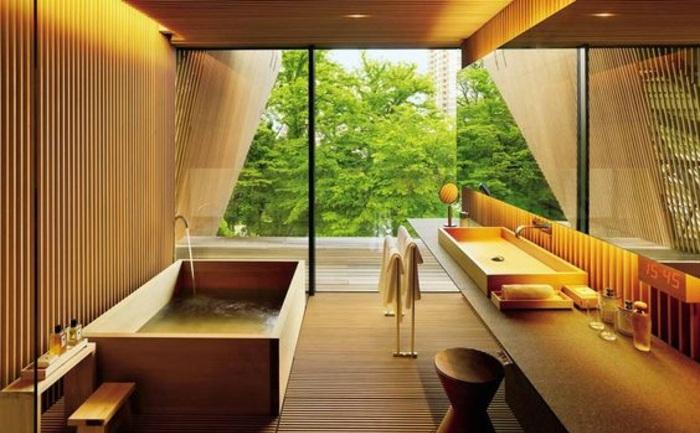 badezimmer gestalten mit eckiger badewanne und eckigem waschbecken