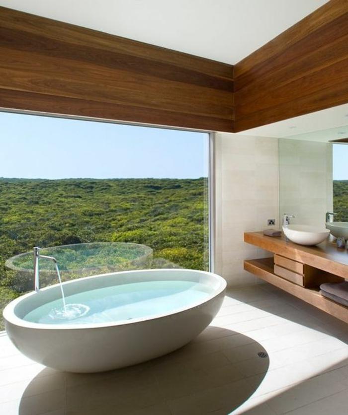 traumbad mit ovaler, weißer badewanne und einer schönen aussicht