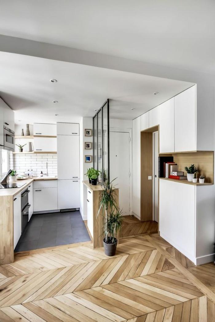2offene-küche-trennen-glas-eingangstür-parkettboden-pflanzen-kochbücher-kakteen-übergang-wohnzimmer