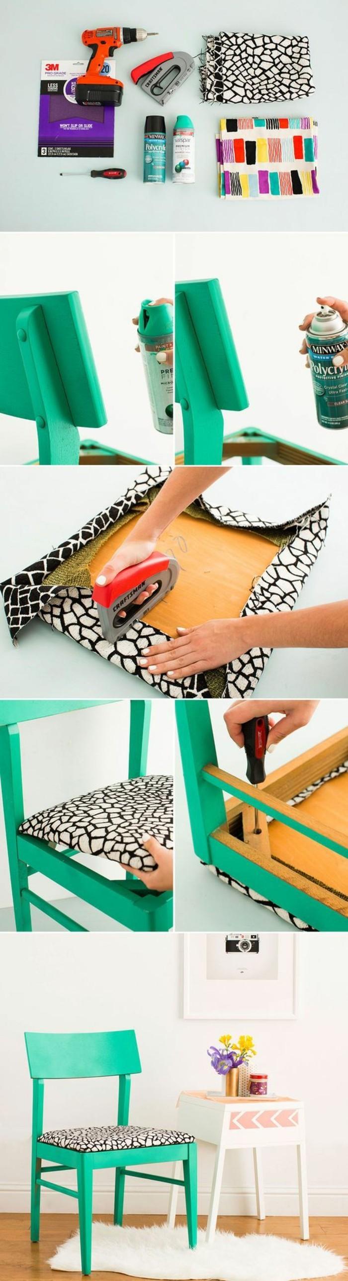 3-Alte-Möbel-aufpeppen-grüner-stuhl-mit-stoff-tapezieren-renovieren-spray-bemalen
