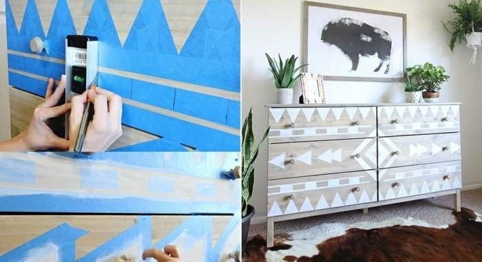 4-Alte-Möbel-aufpeppen-hölzerner-schrank-weiße-farbe-geometrische-figuren-bild