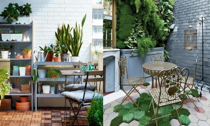 6schmalen-balkon-gestalten-metallmöbel-kunstgras-vogelkäfig-feuerstelle-holztisch-holzboden-pflanzenregale