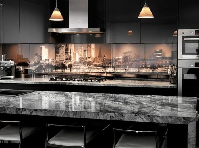 ultra moderne küche in schwarz mit tollem küchenrückwand