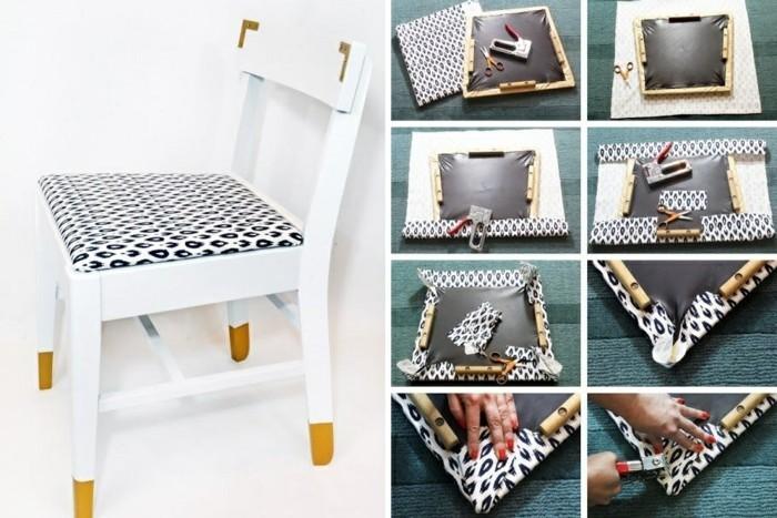 7-möbel-restaurieren-weißer-stuhl-tapezieren-stoff-schere-diy-selber-machen