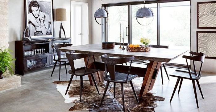 7industrial-möbel-holz-esszimmer-teppich-animalistische-motive-stehlampe-photo-schrank-esstisch-sechs-stühle