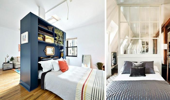 7kleine-räume-geschickt-einrichten-regalraumteiler-sichtschutz-glas-schlafzimmer-wohnzimmer-optisch-abtrennen