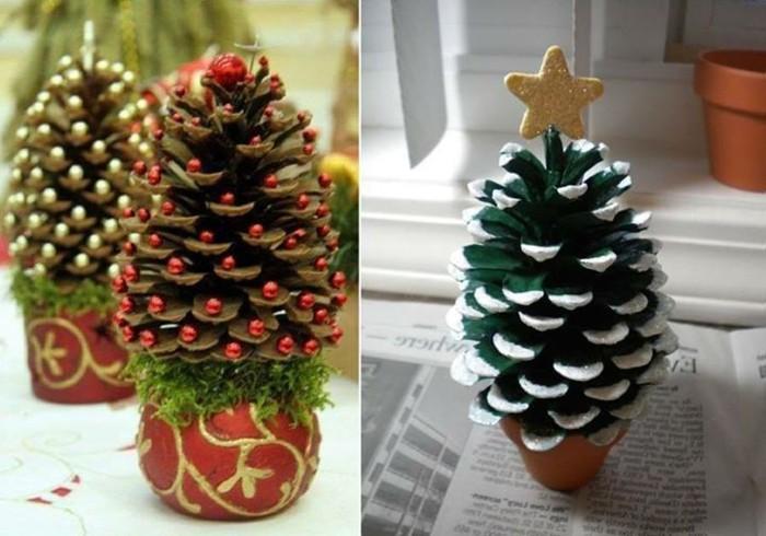 Deko-tannenzapfen-wie-grüner-weihnachtsbaum-mit-goldenem-stern-in-der-spitze-Weihnachtsdeko-mit-tannenzapfen