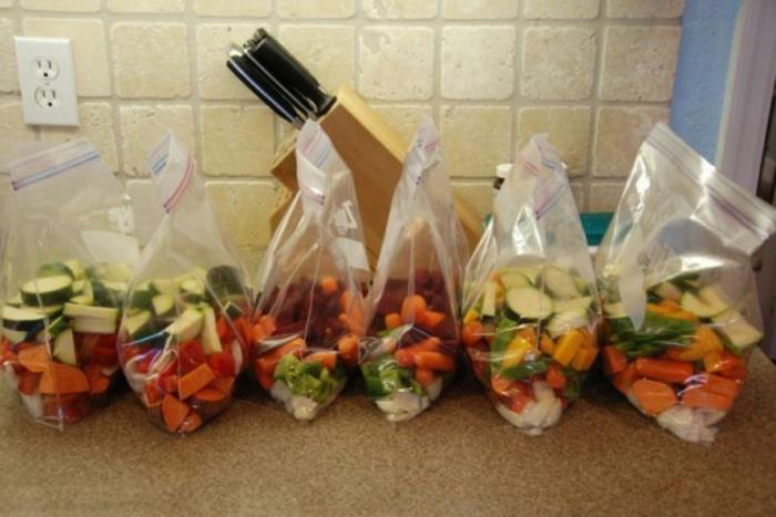 Gemüse richtig lagern Keller Speisekammer Plastiktüten ordnen