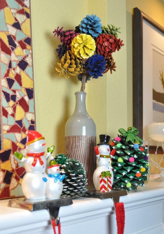 Tannenzapfen-deko-in-vielen-farben-kleine-schneemänner-auf-kamin