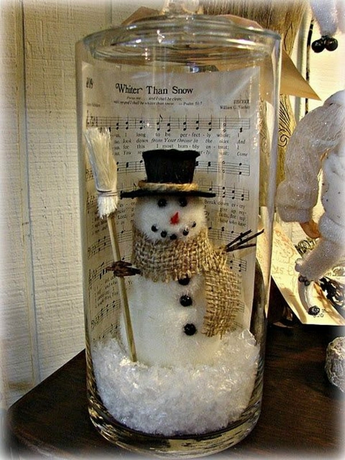 selbstgemachte Schneekugel aus alten Weckglas mit Schneemann