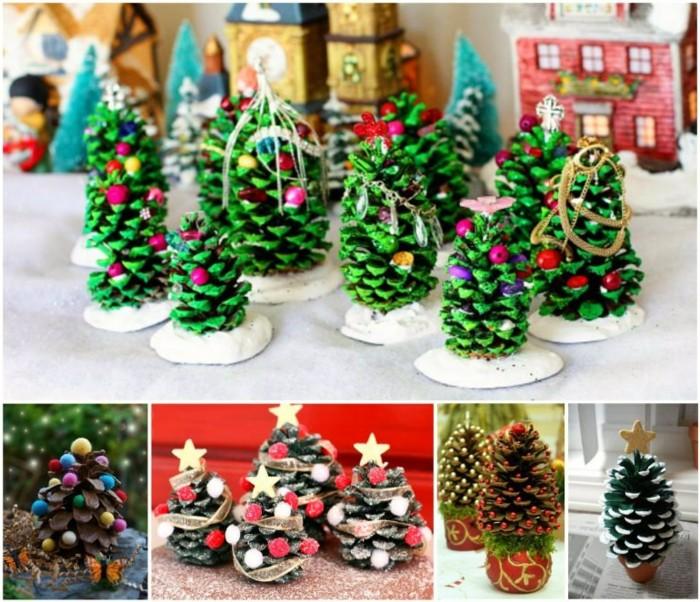 Weihnachtsdeko-mit-tannenzapfen-verschiedene-wälder-aus-zapfen