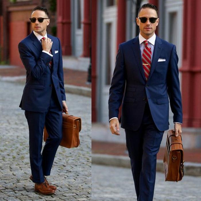 accessoires-männer-rote-krawatte-graue-streifen-dunkelblauer-anzug-ledertasche-braun-braune-lederschuhe-weißes-hemd