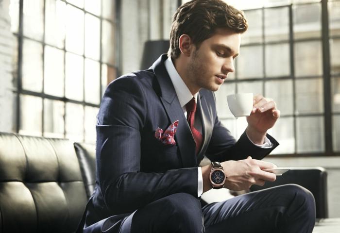 accessoires-männer-rote-krawatte-weißes-hemd-schwarzer-anzung-streifen-handuhr