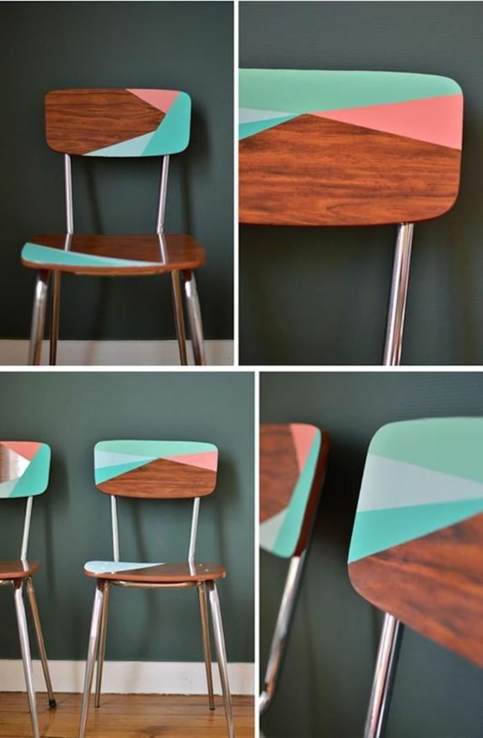 aus-alt-neu-machen-hölzerne-stühle-mit-geometrischen-figuren-bemalen