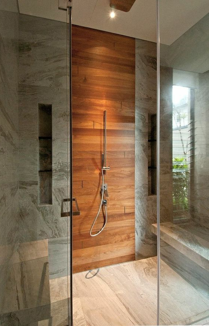 traumbad mit duschkabine mit grauen fliesen