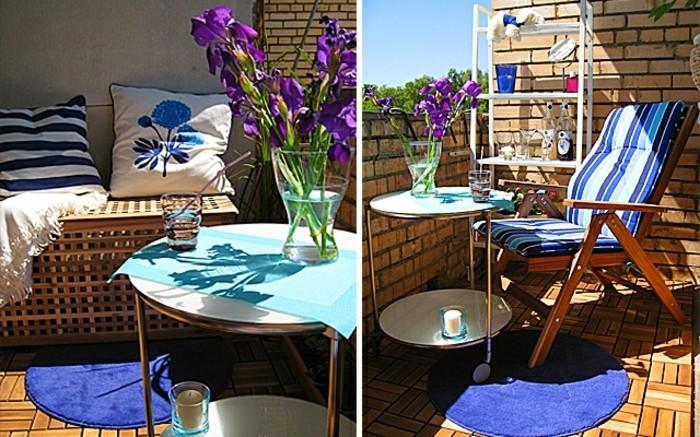 balkon-deko-holzboden-blauer-rundteppich-rundtisch-kerze-lila-blumen-weißer-regal-holzboden-holzstühle