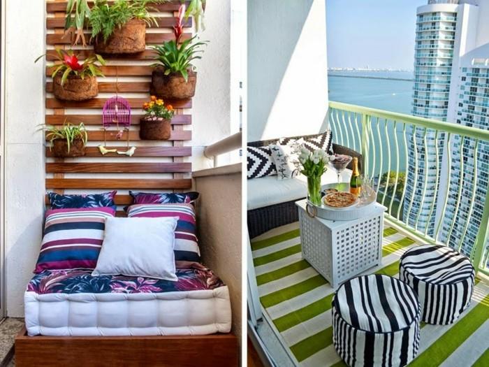 balkon-ideen-schmal-musterteppich-musterhocker-flehtsitzbank-weißer-tisch-matratze-bunte-kissen-holzwand-blumen