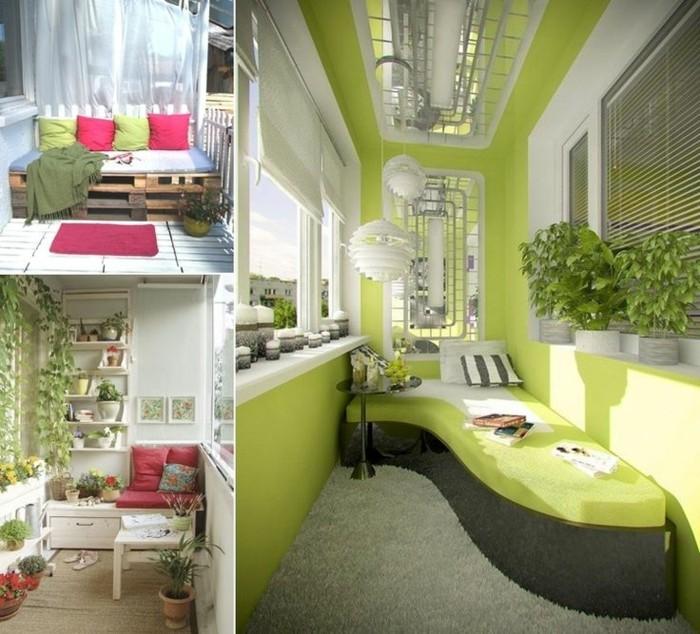 balkongestaltung-grüne-wände-grauer-plüschteppich-grüne-couch-schwarzer-rundtisch-weiße-kronleuchter