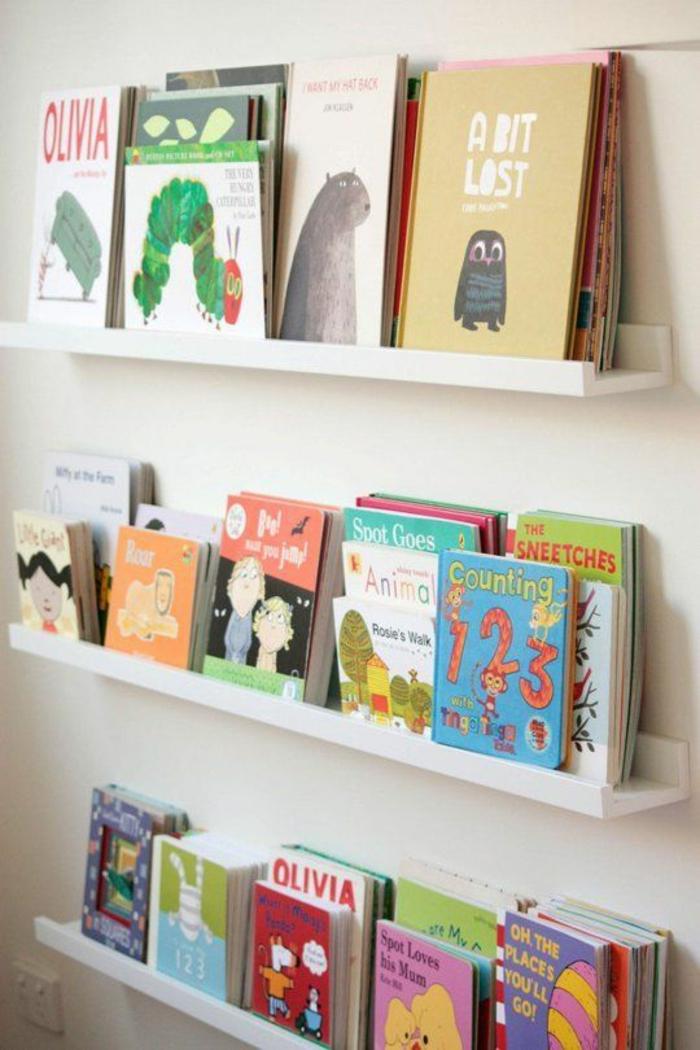 ein Kind in Erster Klasse und seine Bücher auf Leiste für Bilderrahmen