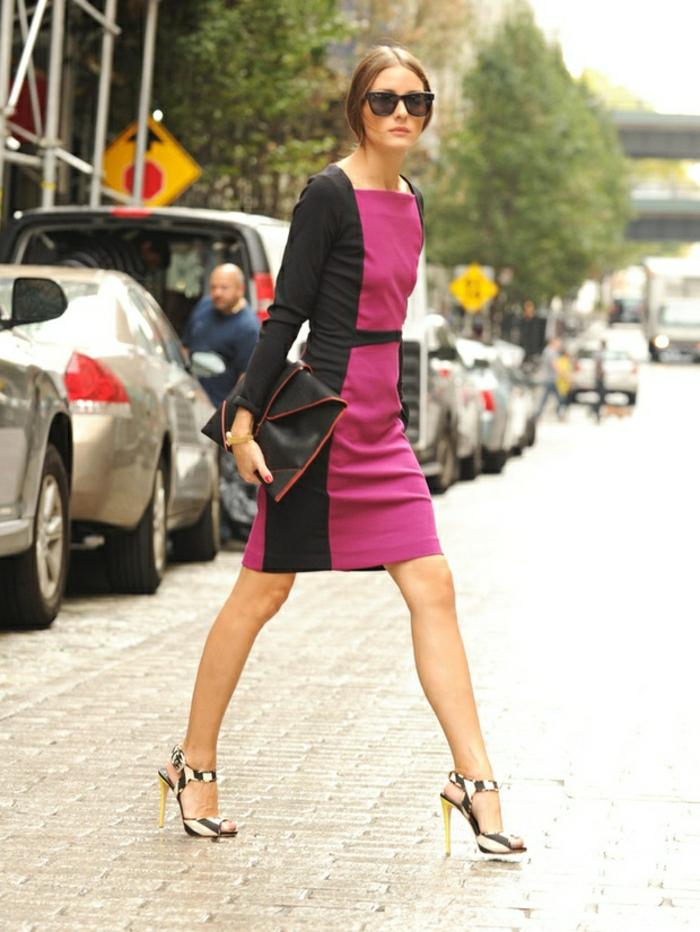 business-kleider-fuer-elegante-damen-ideen-olivia-palermo-outfit-ideen-rosa-zyklame-schwatz-tasche-rot